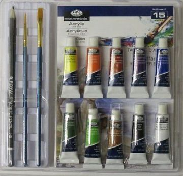 ARTISTS 15 PIECE ACRYLIC PAINT ART SET IN CLAMSHELL BY ROYAL & LANGNICKEL